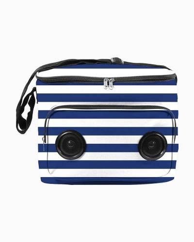 Soft Cooler Bag with Speakers (Blue Stripes)