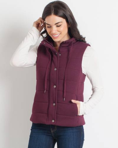Exclusive Jersey Knit Puffer Vest in Burgundy