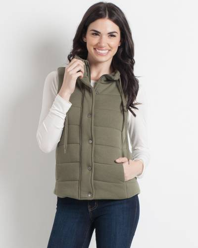 Exclusive Jersey Knit Puffer Vest in Olive