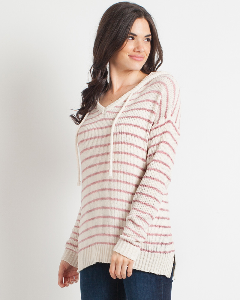19d5ee76ad2 Mia + Tess Designs ™ Exclusive Ivory and Pink Stripe Sweater