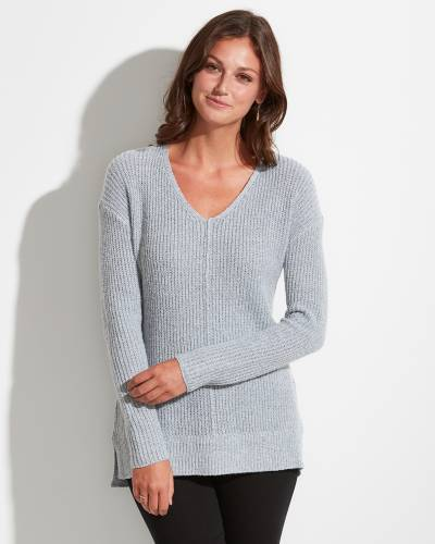 Exclusive V-Neck Sweater in Light Grey