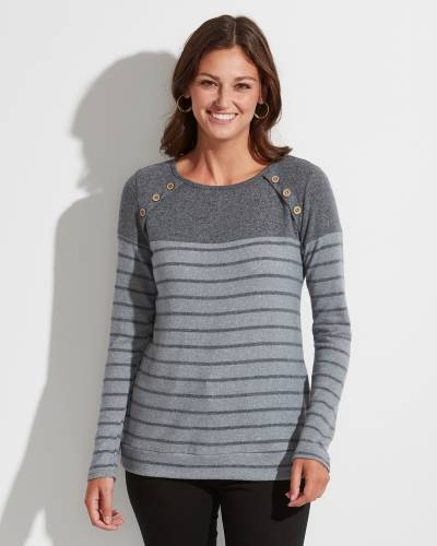 Exclusive Button Yoke Striped Top in Grey