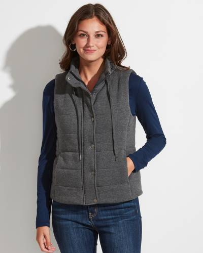 Exclusive Jersey Knit Puffer Vest in Grey Charcoal