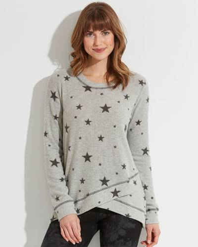 Exclusive Star Pattern Top with Layer Hem in Grey