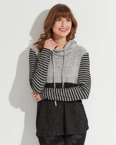 Exclusive Stripe Sleeve Cowl Neck Top in Grey and Black