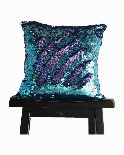 Aqua and Purple Magic Mermaid Sequin Pillow