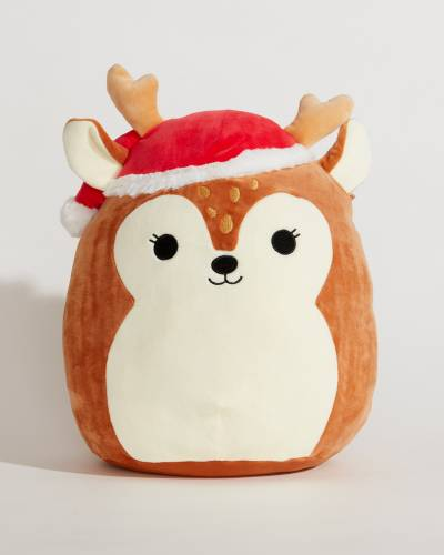 Reindeer with Santa Hat Super Soft Plush Toy (12 in)