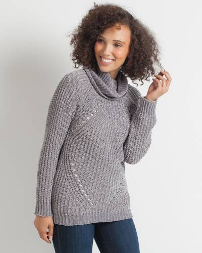 Grey Chenille Turtleneck Sweater
