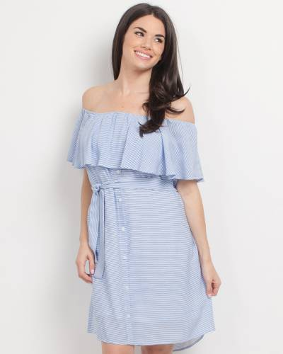 Exclusive Striped Off the Shoulder Dress