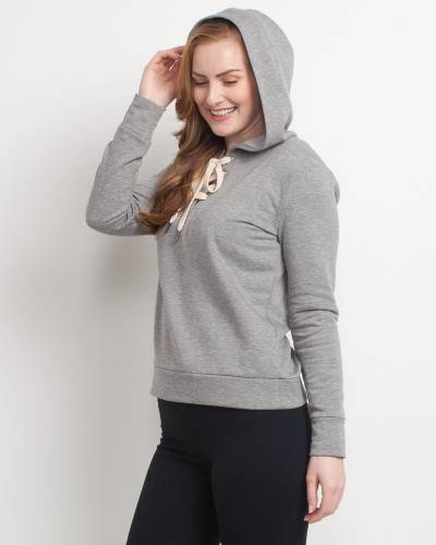 Exclusive Cross Tie-Neck Hoodie in Grey