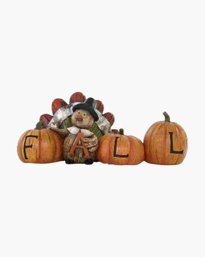 Fall Turkey and Pumpkins Figurine
