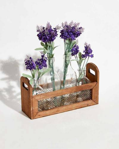 Wooden Caddy with Bottles and Flowers