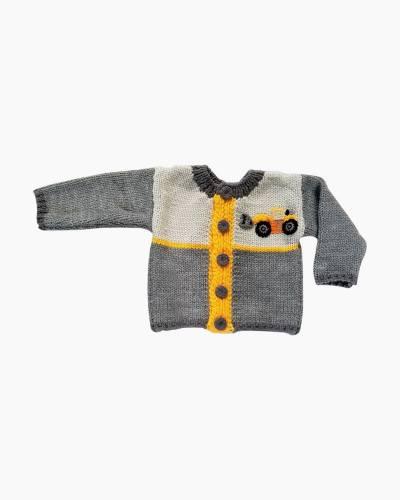 Digger Backhoe Infant Knit Sweater (6-12 Months)
