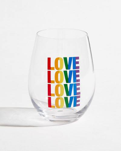 Rainbow Pride Love Stemless Wine Glass