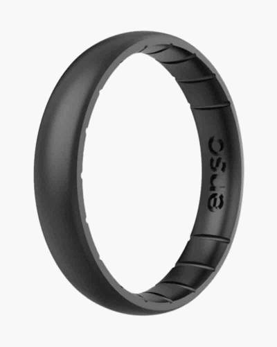 Thin Elements Silicone Ring in Black Pearl