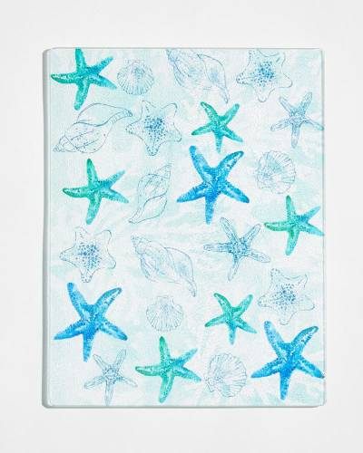 Exclusive Aqua Starfish Glass Cutting Board