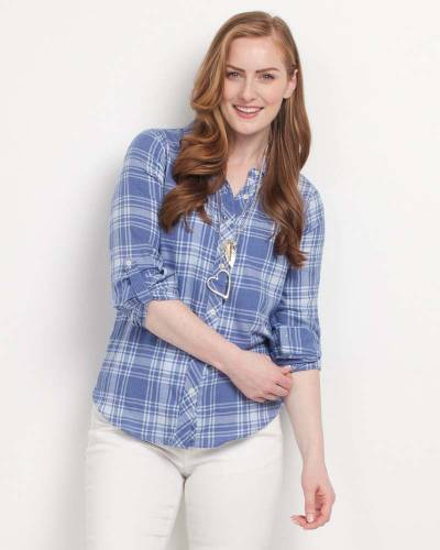 Judy Shirt Blue Plaid Button-Up Top