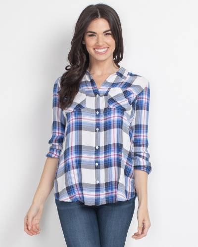 Blue and Magenta Button-Up Plaid Top