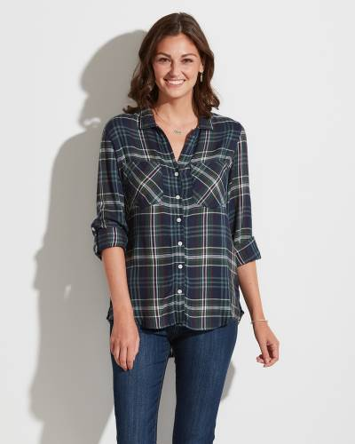 Exclusive Plaid Button-Up Top in Navy and Teal