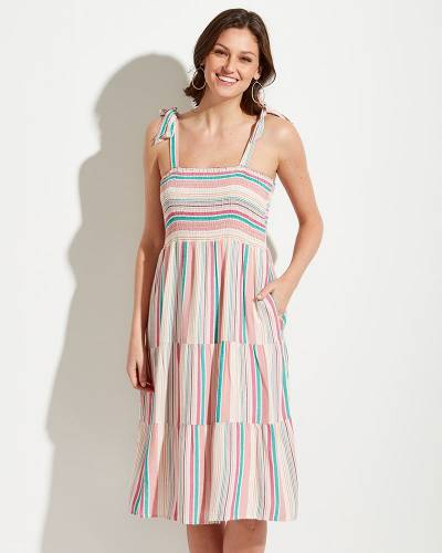 Exclusive Rainbow Stripe Ruffle Dress