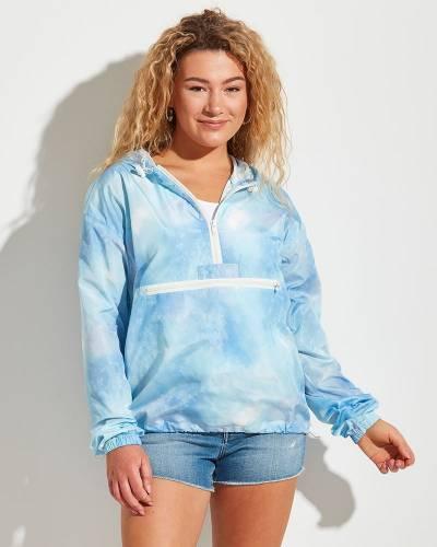 Tie Dye Pullover Quarter Zip Jacket in Blue