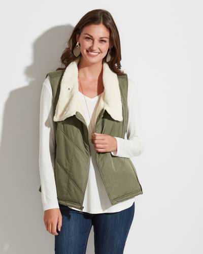 Exclusive Sherpa-Lined Vest in Olive