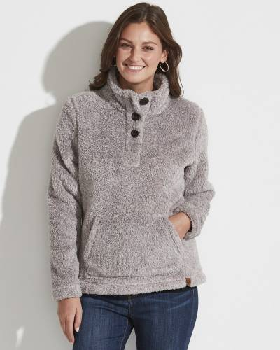 Fuzzy Fleece Button-Neck Top