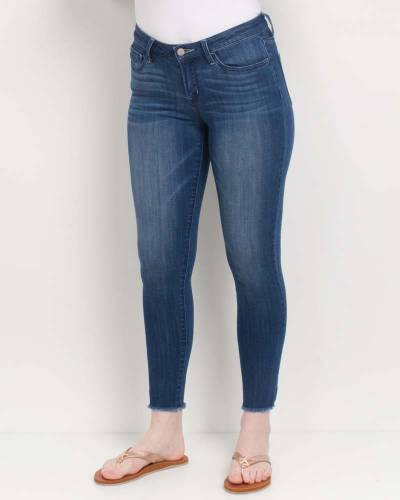 Frayed Bottom Skinny Jeans in Blue