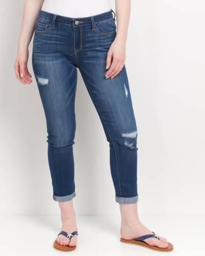 Rolled Bottom Boyfriend Jeans in Blue
