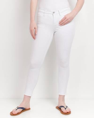 Frayed Bottom Skinny Jeans in White