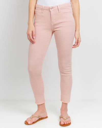 Frayed Bottom Skinny Jeans in Pink