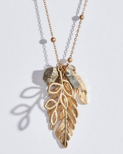 Metallic Leaf Charms Necklace