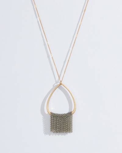 Exclusive Teardrop Fringe Pendant Necklace in Two-Tone