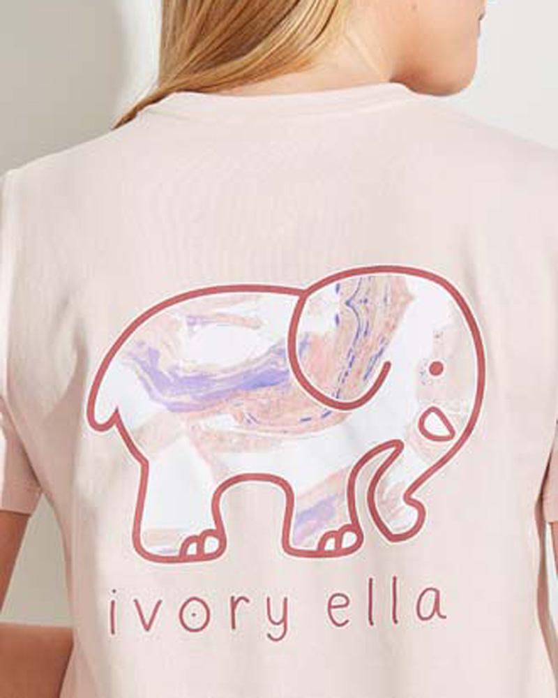 Ella Fit Organic Crystal Pink Marble Elephant Logo Tee