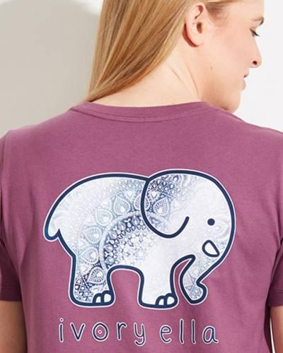 Ella Fit Organic Berry Ombre Mandala Elephant Logo Tee
