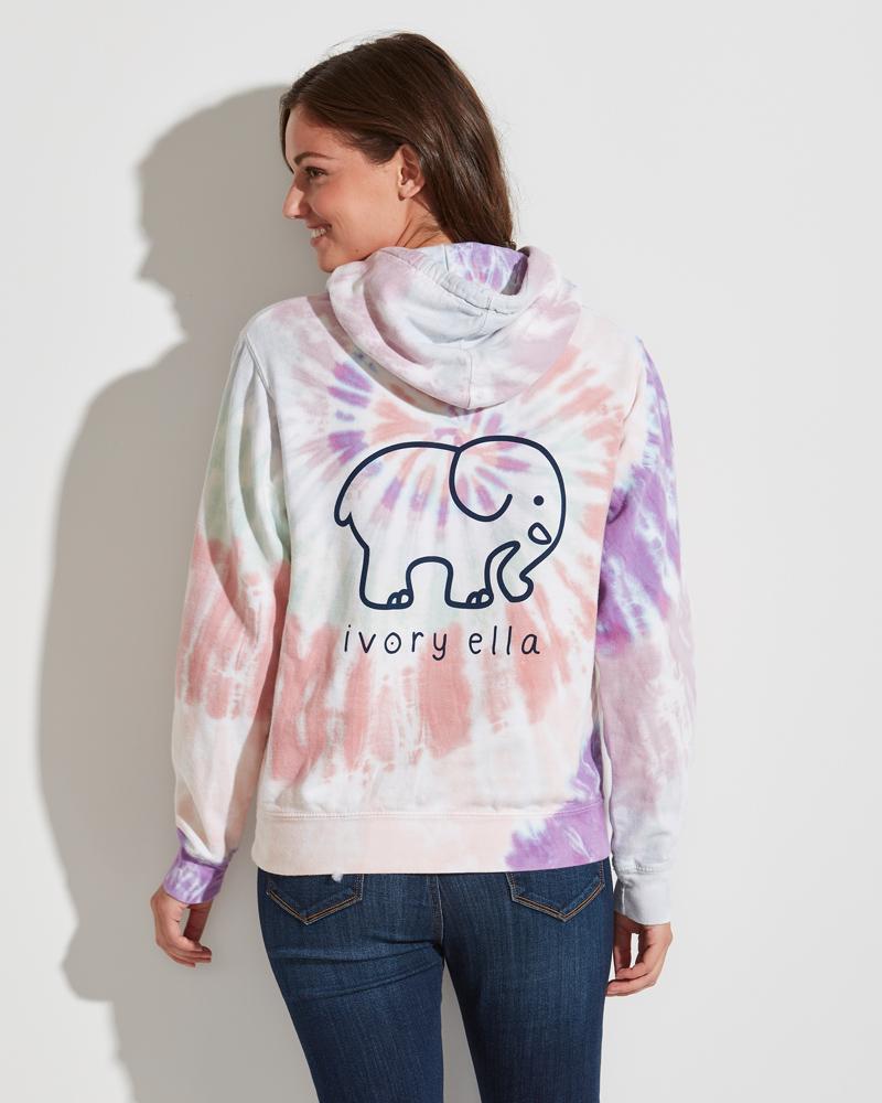 371b4212a404 Ivory Ella Pastel Tie-Dye Elephant Logo Oversized Hoodie