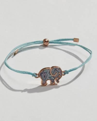 Mint Corded Ella Elephant Charm Bracelet
