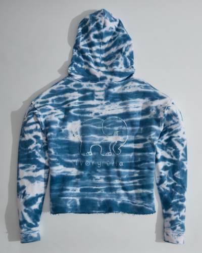 Powder Blue Tie Dye Elephant Hoodie