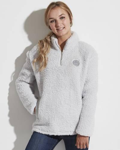 Sherpa Fleece Quarter Zip Pullover in Light Grey