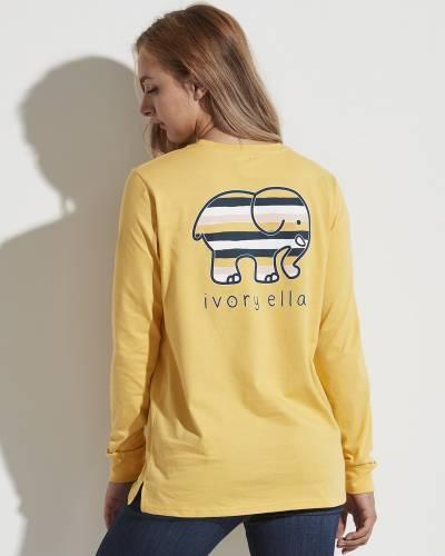 Yellow Striped Long Sleeve Ella Tee