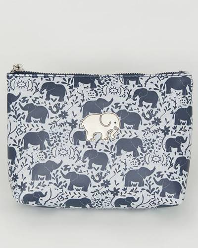 Elephants Graystone Small Cosmetic Case