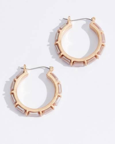 Stone Bead Hoop Earrings in Pink