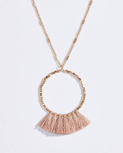 Fringe Tassel Ring Necklace in Pink