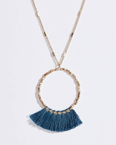Fringe Tassel Ring Necklace in Blue