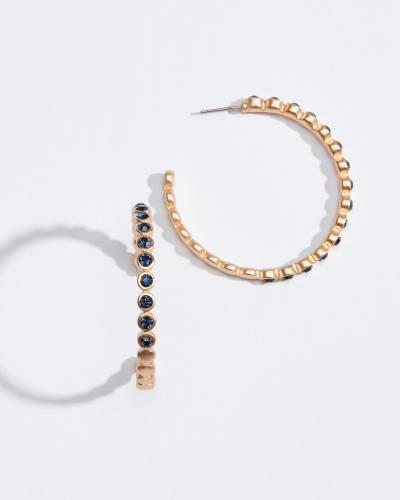 Scalloped Blue Crystal Hoop Earrings