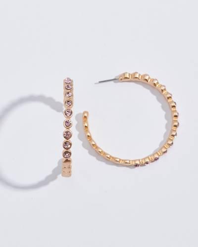 Scalloped Pink Crystal Hoop Earrings