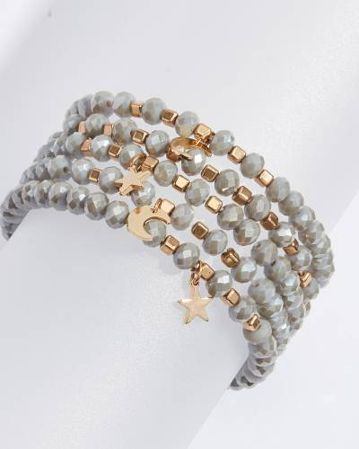 Moon and Star Charm Bracelets in Grey (Set of 5)