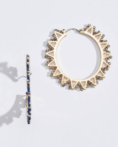 Navy Seed Bead Sun Earrings