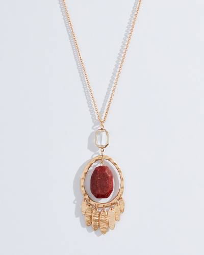 Exclusive Burgundy Stone Pendant Necklace in Gold