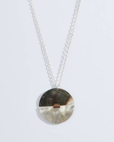 Exclusive Circle Pendant Necklace in Abalone and Silver
